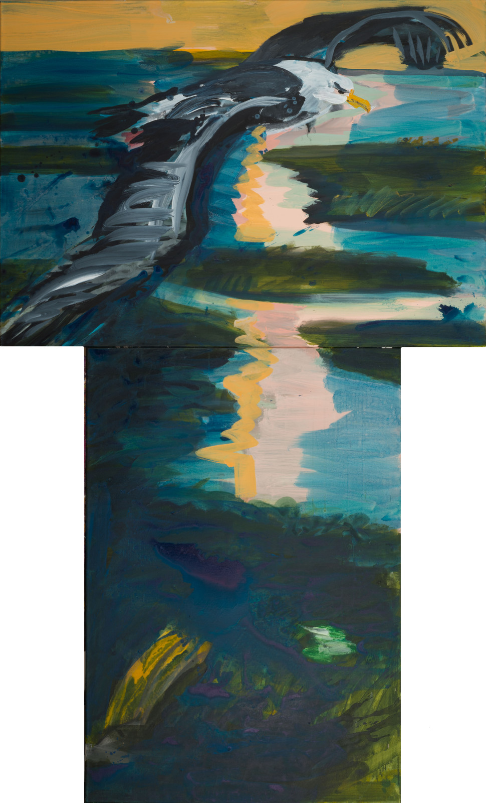 Rainer Fetting, Albatros Anflug auf Sylt, 2018, acrylic on canvas, 230 x 140 cm