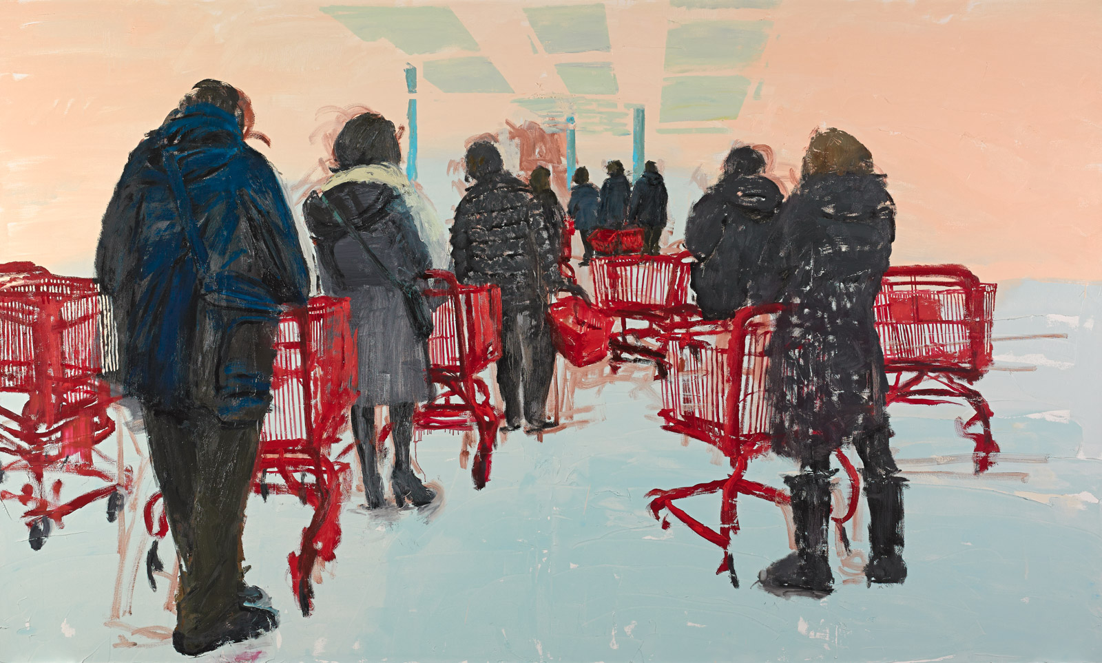 Tirtzah Bassel, Trader Joe's, 2013, oil on canvas, 182,8 x 304,8 cm, Galerie Thomas Fuchs